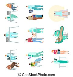 wektor, różny, pacjenci, diagnostyczny, rysunek, komplet, ilustracja, procedury, odwiedzając, style., leczy, examination.