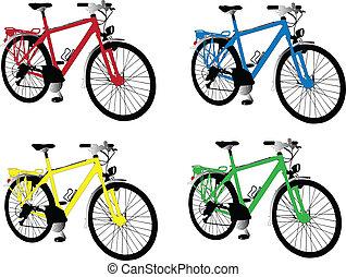 wektor, różny, rower, -, kolor