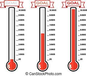wektor, różny, termometry, gol, poziomy