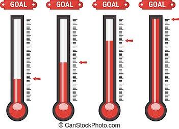 wektor, różny, termometry, poziomy
