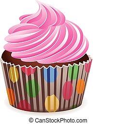 wektor, różowy, cupcake