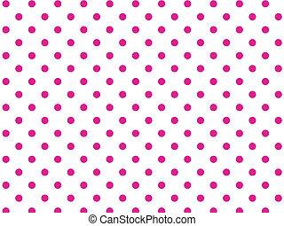 wektor, różowy, kropkuje, biały, eps8, polka