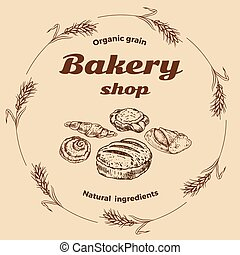 wektor, ręka, piekarnia, bread, emblemat, pociągnięty, wypiek, albo, projektować, sklep