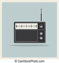 wektor, radio, retro, odbiorca