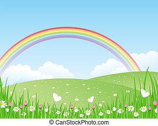 wektor, rainbow., il, krajobraz