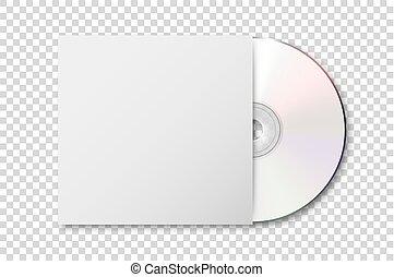 wektor, realistyczny, 3d, biały, cd, z, osłona, ikona,...