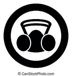 wektor, respirator, osobisty, czarnoskóry, płaski, kurz, ilustracja, wizerunek, ikona, maska, wyposażenie, ochrona, okrągły, replaceable, styl, kolor, koło, bezpieczeństwo, nieobecny, filtr