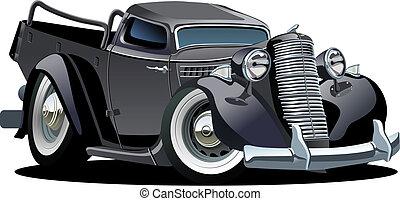 wektor, retro, rysunek, pickup
