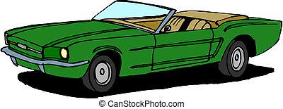 wektor, retro, wóz