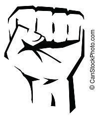 wektor, rewolucja, ilustracja, ręka