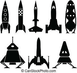 wektor, rocketship, ikony