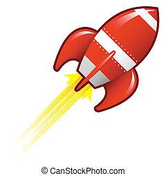 wektor, rocketship, retro