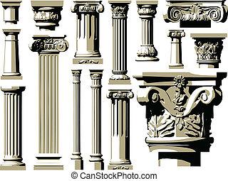 wektor, rocznik wina, komplet, starożytny, colum