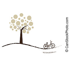 wektor, rower, illustration., abstrakcyjny, drzewo., tło, pod