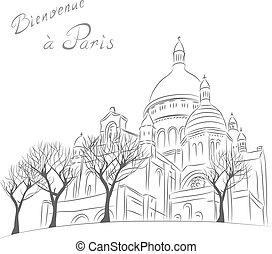wektor, rys, od, cityscape, z, sacre coeur, w, paryż