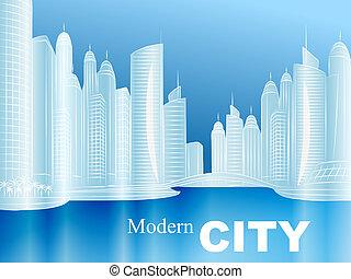 wektor, rys, od, niejaki, nowoczesny, miasto