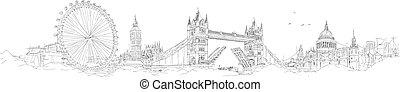 wektor, rys, ręka, rysunek, panoramiczny, londyn, sylwetka