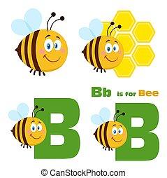 wektor, rysunek, 3., płaski, sprytny, zbiór, pszczoła, komplet, litera
