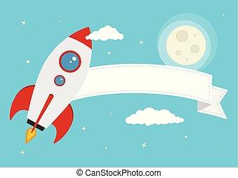 wektor, rysunek, rakieta, przestrzeń