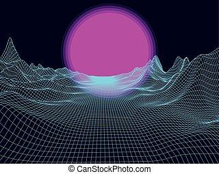 wektor, słońce, abstrakcyjny, tło., krajobraz, oczko, horizon., futurystyczny