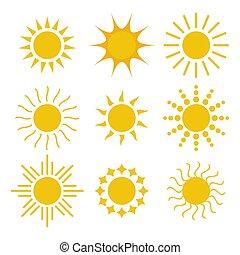 wektor, słońce, odizolowany, komplet, ilustracja, tło., biały, ikona