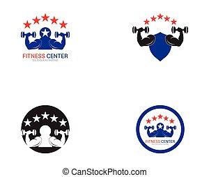 wektor, sala gimnastyczna, sport, logo, stosowność
