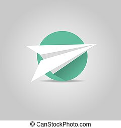 wektor, samolot, długi, papier, cień, ikona