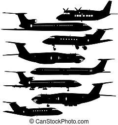 wektor, samolot, zbiór, różny, silhouettes., ilustracja