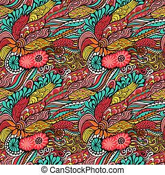 wektor, seamless, struktura, z, abstrakcyjny, flowers., bez końca, tło., etniczny, seamless, pattern., wektor, backdrop., jasny, pattern., lato, template., korzystać, dla, tapeta, nabija, kartka sieći, tło