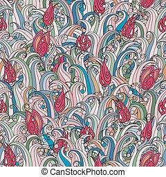 wektor, seamless, struktura, z, abstrakcyjny, ziele, elements., bez końca, tło., doodle, trawa, pattern., wektor, backdrop., zielony, pattern., lato, template., korzystać, dla, tapeta, nabija, kartka sieći, tło