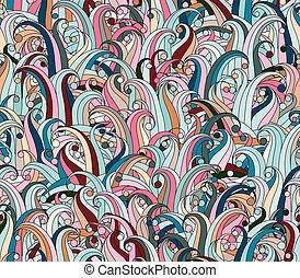 wektor, seamless, struktura, z, abstrakcyjny, ziele, elements., bez końca, tło., doodle, trawa, pattern., wektor, backdrop., pastel, różowy, błękitny, pattern., korzystać, dla, tapeta, nabija, kartka sieći, tło