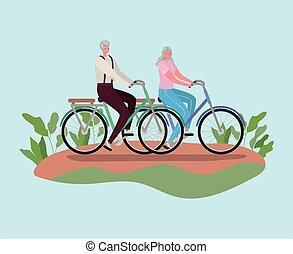 wektor, senior, projektować, kobieta, jeżdżenie, kartony, człowiek, rowery