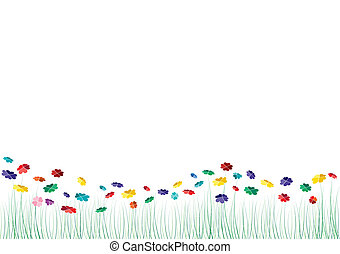 wektor, serca, kwiaty, wiosna