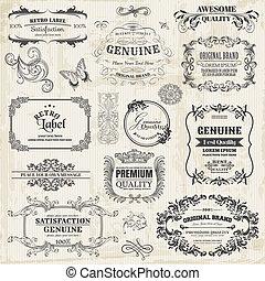 wektor, set:, calligraphic, zaprojektujcie elementy, i, strona, ozdoba, rocznik wina, ułożyć, zbiór, z, kwiaty