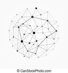 wektor, sieć, kropka, wireframe, sphere., ilustracja, polygonal, kreska, projektować, kula, 3d, budowa, oczko