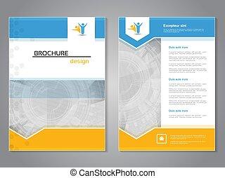 wektor, size., układ, błękitny, afisz, abstrakcyjny, nowoczesny, żółty, color., tło., magazyn, lotnik, broszura, aspekt, stosunek, biały, technologia, template., cover., a4