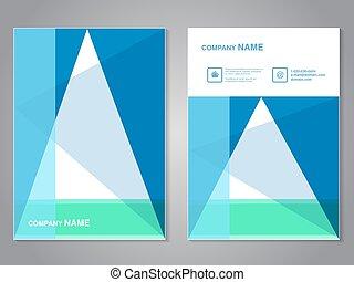 wektor, size., układ, błękitny, afisz, flyer., nowoczesny, template., magazyn, cover., zielony, a4, aspekt, broszura, trójkąt, biały, color., projektować, abstrakcyjny, stosunek