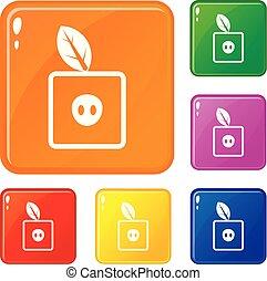 wektor, skwer, jabłko, ikony, kolor, komplet