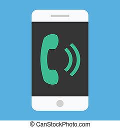 wektor, smartphone, donośny, ikona