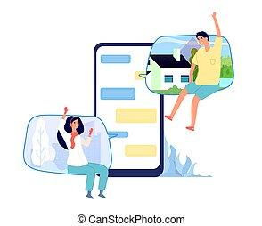 wektor, smartphone, pojęcie, miłość, gaworząc, ludzie, para, online, screen., faktyczny, pisanie, dzwonić kobiecie, internet, wiadomość, chat., człowiek