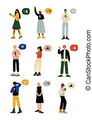 wektor, smartphones, sieć, gaworząc, ludzie, komplet, komunikacja, mężczyźni, młody, faktyczny, bańki, online, ilustracja, pogawędka, internet, używając, kobiety, towarzyski