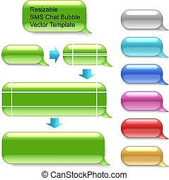 wektor, sms, resizable, pogawędka, szablon