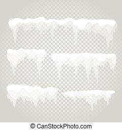 wektor, sopel lodu, i, śnieg, elements., różny, śniegowy...