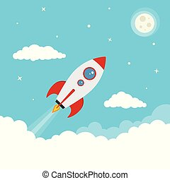 wektor, spacjowanie, rysunek, rakieta szalupa