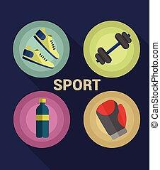 wektor, sport, ikony