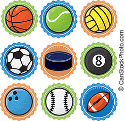 wektor, sport, komplet, piłki