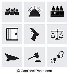 wektor, sprawiedliwość, czarnoskóry, komplet, ikony