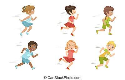 wektor, sprytny, dzieciaki, komplet, wpływy, dziewczyny, współzawodnictwo, sport, chłopcy, wyścigi, część, ilustracja, godny podziwu