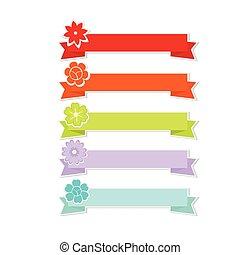 wektor, sprytny, kwiat, wstążki