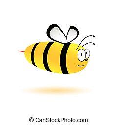 wektor, sprytny, pszczoła, ilustracja, słodki